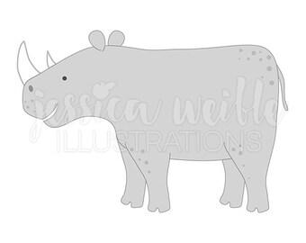 Rhino Cute Digital Clipart, rhinoceros Clip art, rhinoceros Graphic, Illustration, #1613