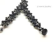 black czech glass beaded bracelet . gift idea . unique . delicate . art deco . light gold accent