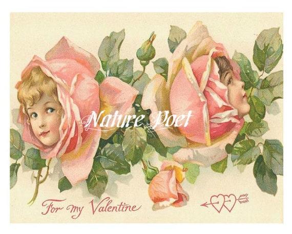 Valentine Roses Postcard Digital Download Printable