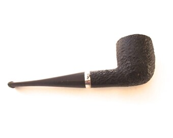 Major Black Pipe, Vintage French Tobacco Pipe with Sterling Silver Band (A2)