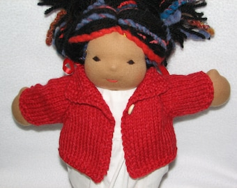 Doll Sweater for 13 inch Doll in Red Heather Wool RTG