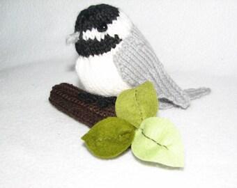 Chickadee - Black Capped Chickadee -  Hand Knit Bird - Bird Decor - Bird Figurine