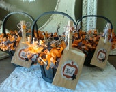 Halloween gift bag party favor candy container wood gift baskets gift wrapping packaging Halloween altered gift bag for friend Hostess gifts