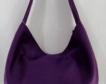 Purple Crepe, Medium Slouchy BAG, Shoulder Purse, Fall Winter Hand BAG, Sling, Small Hobo