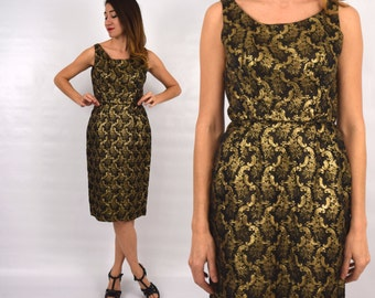50s Gold Party Dress | Metallic Floral Wiggle Dress, Small