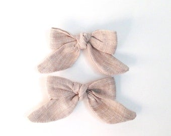 Linen bows, Little Girl bows, Fabric Bows, all natural hair bows, Pigtail bows, Linen Hair Bow, Hand tied bow, Grey hair bows, bow barrette