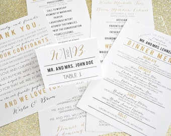 Weslie Gold Glitter Suite Wedding Day-of Accessories - Program, Menu, Table Number, Escort & Place Cards