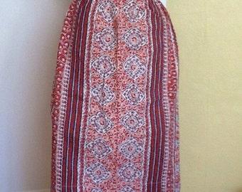 Vintage hostess apron Pink Red Flowers Floral Stripes