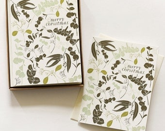 Holiday Eucalyptus Boxed Card Set : Boxed Set of 8 cards + envelopes for Holiday Christmas Cards
