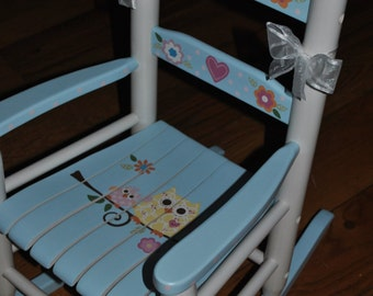 New For 2016-Children's - Custom Hand Painted-Woodland Animals-Girls Rocking Chair-Baby Shower Gift-Nursery Furniture-Child Chair-Baby Gift
