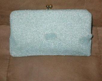 Vintage Light Blue Beaded Evening Bag Purse