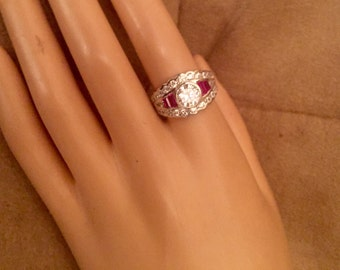 Vintage Art Deco Sterling Silver White Topaz & Ruby Ring