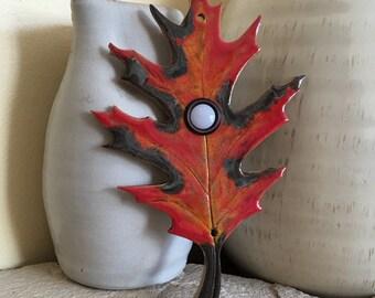 Large Red Oak Leaf Doorbell