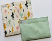 Reusable Sandwich and Snack Bag Set Eco Friendly Cactus Triangles