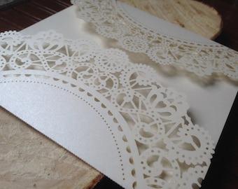 Sample - Laser Cut FOLDER ONLY -  KELSEY Style Elegant Laser Cut Folder in Shimmering Ivory, Navy, Purple and more