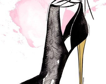 Watercolour fashion illustration Titled Gold Heel