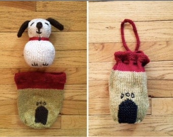 "Hand Knit Stuffed Animal Toy - Plush Puppy, 5"" tall (13cm) AND His Own Dog House"
