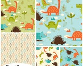 FQ Bundle Riley Blake Dinosaur Flannel Fabric - Contains 5 Fat Quarters