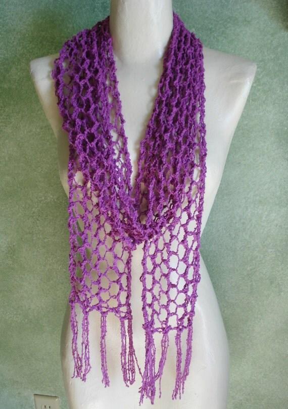Long Purple Skinny Open Lace Knit Scarf Boho Chic Cotton Wrap