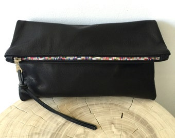Black Leather Clutch , Fold over Clutch , large black clutch with rainbow zipper