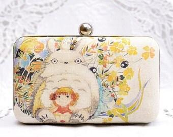 Totoro Box Clutch My Neighbour Totoro Hand Dyed Colorful Beige Linen Chain Shoulder Bag Girls Birthday Gift Wedding Gift Minaudiere