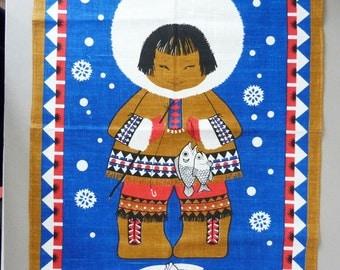 Vintage Eskimo Grenfell linen tea towel