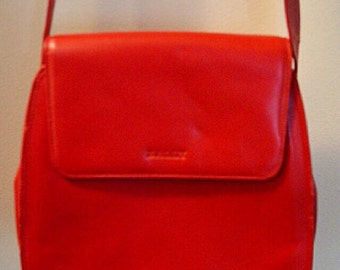 Vintage Bally Red Leather Shoulder Handbag, Red Handbag, Leather Handbag, Bally, Vintage Handbag, Vintage Purse