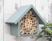 Mason Bee House, Bee Hotel, Bee Box, Garden Decoration, Wildlife House, Solitary Bee Hotel, in 'Wild Thyme'. Can be personalised.