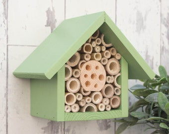 Bee House, Bee Hotel, Insect Hotel, in 'Juicy Grape'. One Tier, Can be personalised