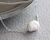 Floating Pearl Necklace, Sterling Silver Chain Necklace, Freshwater Pearl Necklace, Baroque Pearl Necklace with White Pearl, Modern Style