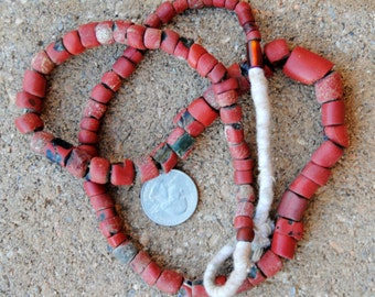 Vintage African Green Heart Beads