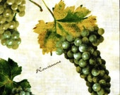 Wine Grapes Green Fabric - Custom Order