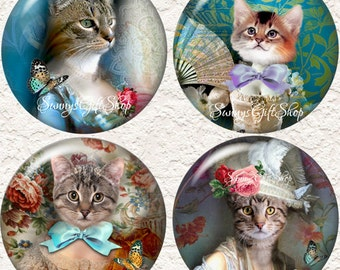 """Cat Coasters, Well Dressed Kitty Cats, Set of 4 - 3.5"""" in Size-  046C"""