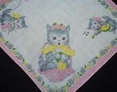 "Vintage 1950's Grey Kittens Children's Handkerchief -  Floral Kitten Cat Motif - Pink Grey Yellow - Musical Yarn Knitting - 9"" Square"