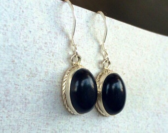 Silver Black Onyx Earrings