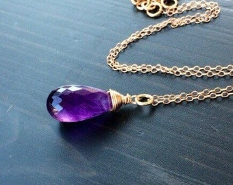 purple Amethyst pendant Necklace - Sterling Silver, Rose gold, tarnised silver, gold fill.