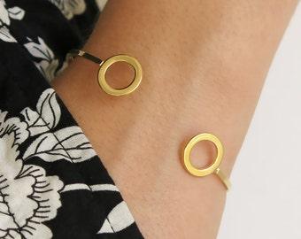 cuff bracelet, circle bracelet, gold bracelet, open bracelet, stacking bangle, thin cuff bracelet, simple bracelet, bangle bracelet