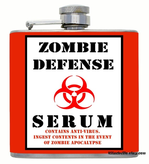 Funny Zombie Apocalypse Defense Serum Flask 6oz
