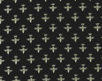 Queen Bees Cream on Black - Queen Bee by Patrick Lose for RJR Fabrics - Full or Half Yard Bees with Crowns on Black