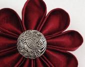 Flower Pin Garnet Red Silk with Fancy Silver Button Valentines