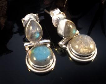 Labradorite Earrings,Sterling silver jewelry 925 silver Earrings,Minimalist earrings,Birthstone Jewelry,Elegant Earrings by TANEESI
