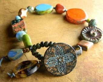 Fun Funky Button Bracelet Boho Orange Green Blue Czech Flower Rustic Jewelry