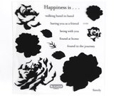 RESERVED CTMH S1303 Floral Happiness Close To My Heart sotm Stamp Of The Month Rose Blossom Two Step Stamping Clear Stamps Retired USED