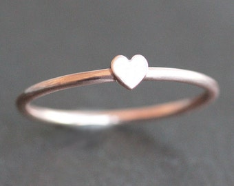 Heart Ring - 10K Rose Gold Band with 4mm Heart - PROMISE RING
