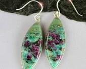Secret Ruby - Genuine Ruby in Fuchsite Sterling Silver Earrings