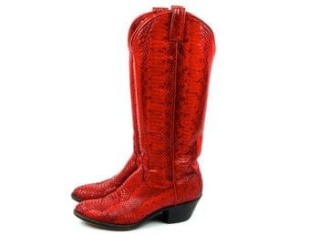 AMAZING Red Snakeskin Boots by Dan Post, Excellent Condition!  Red Python Boots