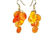 Orange Dangle Earrings, Button Earrings, Orange Earrings, Repurposed Button, Upcycled Jewelry
