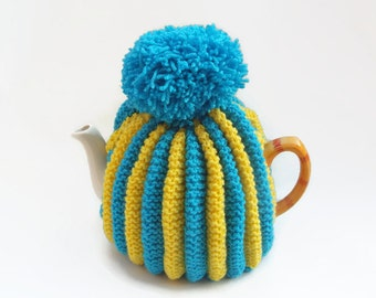 tea pot  cozy knitted cosy blue and yellow wool  medium pot uk seller