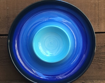 Blue Ombre Ceramic Chip and Dip Serving Tray - Bright Colorful Gradient Design - Shades of Royal Aqua Blues