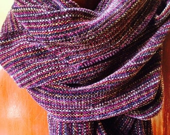 Hand Woven Rayon Chenille Scarf, Burgundy Multi-Color Woven Chenille Long Scarf